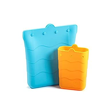 Kinderville Snack/Sandwich Pouch 2 pack - 100% SILICONE Snack/Sandwich Pouch for Kids, Children, Babies, Toddlers, BPA Free, REUSABLE SANDWICH AND SNACK POUCH (Dishwasher Safe)