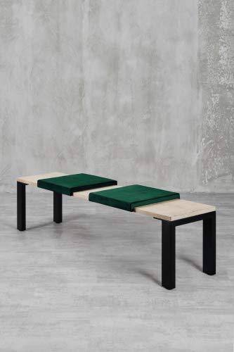 carla&marge Klemm-Kissen Sense - 2er Set - 44x6x44 cm - weiches Sitz-Kissen, Samtkissen für Sitzbanktiefe 40 cm - Farbe: Dunkelgrün