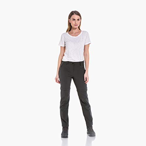 Schöffel Damen Pants Ascona Zip Off leichte und komfortable optimaler Passform, Flexible Outdoor Hose für Frauen, Grau (Asphalt), 44 (XL)