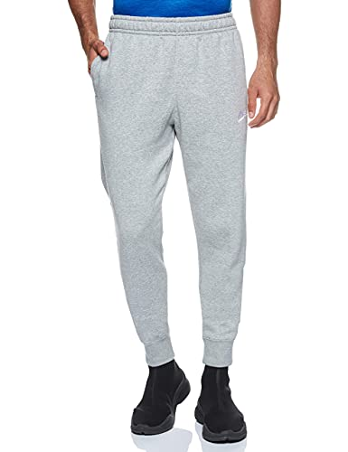 Nike Men's NSW Club Jogger, Dark Grey Heather/Mattelic Silver/White, Small