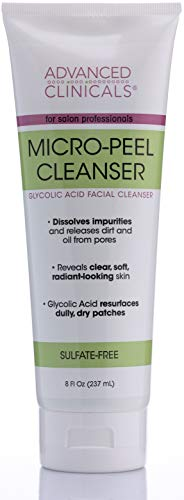 Advanced Clinicals Micro-Peel Glycolic Acid Cleanser Face Wash Dissolves Impurities, Releases Dirt and Oil, Reveals Radiance Acne Facial Cleanser with Green Tea, Lavender, Apple Extracts, 8 oz.