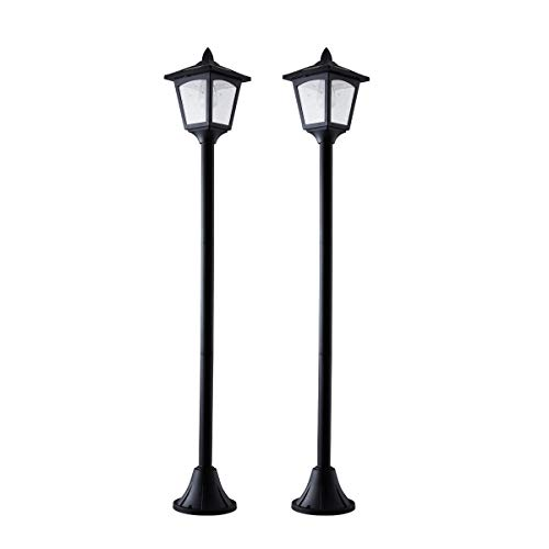 42 Inches Mini Street Post Outdoor Garden Solar Lamp Post Light Lawn - Adjustable (2 Pack)