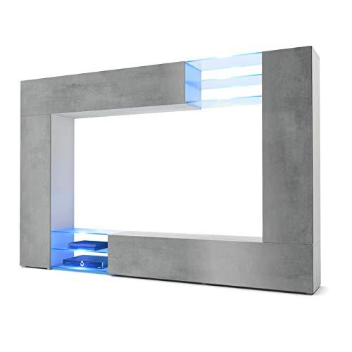 Vladon Wohnwand Anbauwand Mirage, Korpus in Weiß matt/Fronten in Beton dunkel Optik inkl. LED Beleuchtung