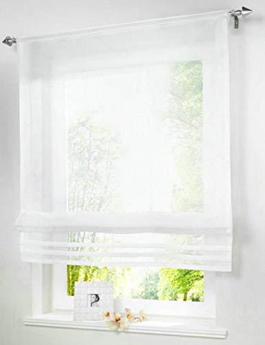 Populaire effen kleur pure voile vouwgordijnen gordijn voor balkon keuken Rod-packet 1PC, wit, B60cm x H140cm