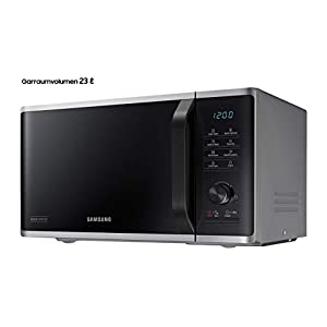 Samsung MW3500K MS2AK3515AS/EG Mikrowelle / 800 W / 23 L Garraum / 48,9 cm Breite / Kratzfester Keramik-Emaille-Inneraum / QuickDefrost Auftauprogramme / silber / E-Commerce Verpackung