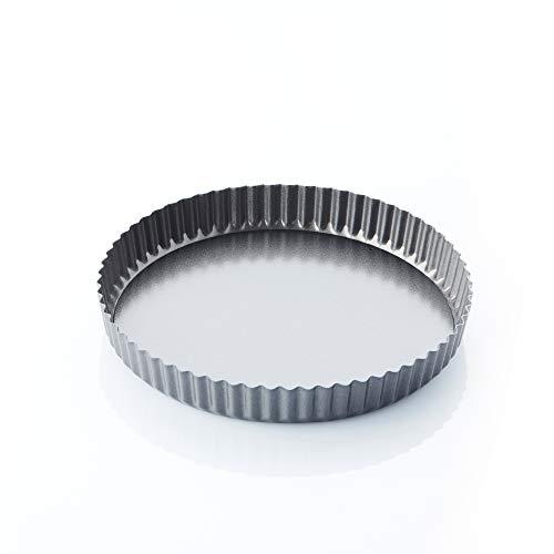 A'Domo Point-Virgule PV-BAK-2308 Moule à tarte/quiche cannelé anti-adhésif avec base amovible Ø 25 cm, acier, argenté