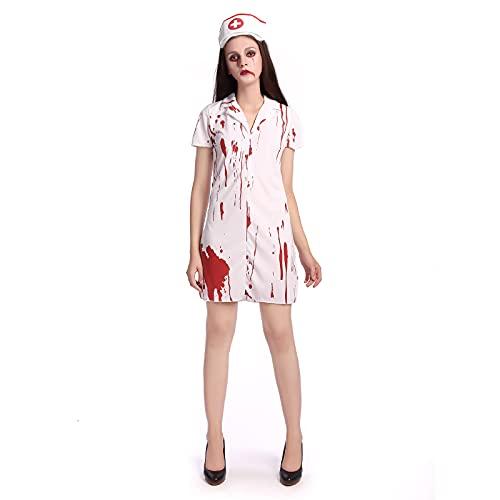 Nileco Horror Fantasma Fiesta Cosplay Vestidos,Mujeres Zombie Enfermera Traje,Vspera de Todos Los Santos Seoras Miedo Sangrienta Vestido Uniforme Mini Falda-Enfermera funeraria L