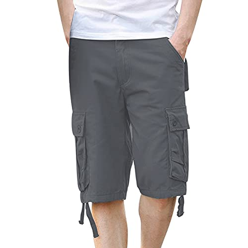 Men's Cargo Shorts Plus Size Casual Lightweight Multi Pocket Short Pants Classic Relaxed Fit Stretch Outdoors Shorts Dark Gray