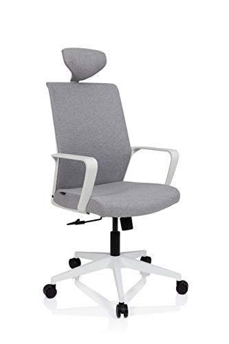 hjh OFFICE 732106 Bürostuhl MINO Stoff Grau/Weiß Drehstuhl mit Armlehne, Kopfstütze höhenverstellbar, Wippfunktion