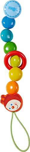Haba 303755 - Schnullerkette Raupe   Schnullerkette mit Clip zum einfachen Befestigen   Schnullerband mit bunten Holzkugeln in Regenbogenfarben, beweglichem Holzring und niedlichem Raupenkopf