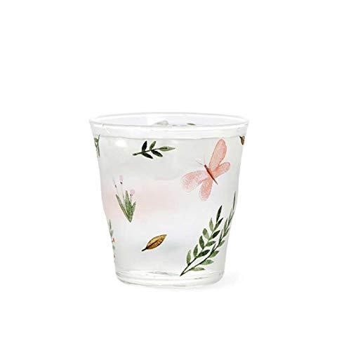 Taza de café Flores transparentes Taza de cristal impresa Taza de café resistente al calor Jugo de leche Taza de té Taza de té Oficina casera Vidrios de beber 339ml cocina ( Color : Pink butterfly )