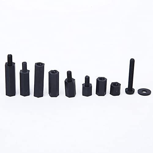 Kit surtido de tuercas de tornillo de separación adecuado, 88 piezas en componentes electrónicos hechos en nylon total M3 (negro)