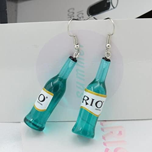 XAOQW Preciosa Resina del río Kawaii. Cabujón Imitación Bebida Vino Botella Collar Pulsera Pendientes-Azul