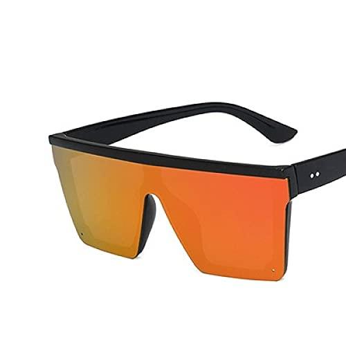 Gafas De Sol Gafas De Sol De Gran Tamaño con Parte Superior Plana para Mujer, Sin Montura, Gafas De Sol para Mujer, Gafas De Sol Cuadradas Vintage De Lujo para Mujer, Espejo Uv400, Negro Y Naranj