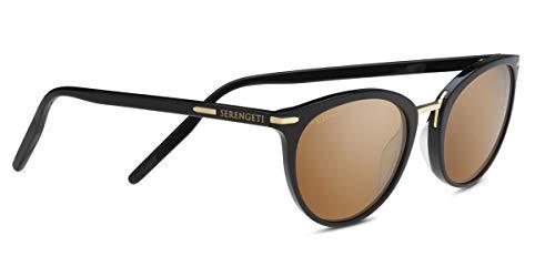 Serengeti Elyna Shiny Black/Mineral Polarized Drivers Gold Medium/Large Sunglasses Unisex-Adult, One Size