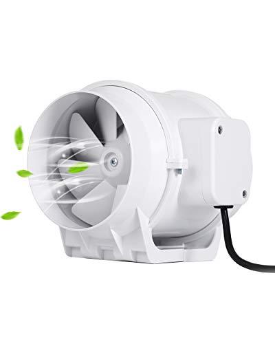 Hon&Guan Abluftventilator Hochleistungs Inline Rohrventilator Mischstrom Lüftungsanlage Abluft für Zimmer Badezimmer Küche (ø125mm standard)