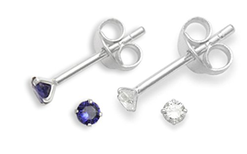 Set of 2 PAIRS Sterling Silver Cubic Zirconia stud Earrings - SIZE: TINY 2mm - Very Small & discreet - Teeny weeny Sapphire Blue & Clear studs. 5549DB/SET