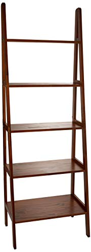 Casual Home 5-Shelf Ladder Bookcase, Warm Brown