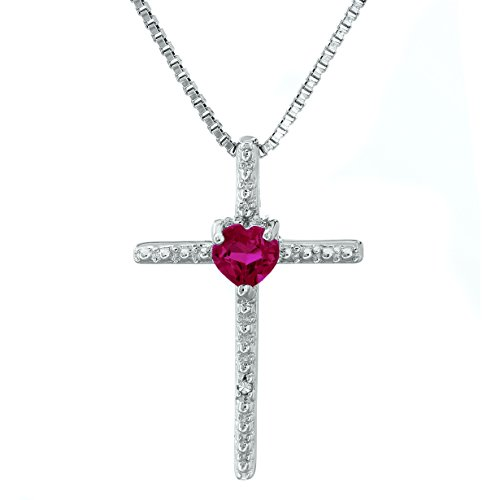 Heart Created Ruby Cross Pendant with .01 cttw Diamonds - Sterling Silver - 18'