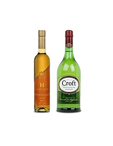 Vino Amontillado Harveys de 50 cl y Vino amontillado Croft Particular de 1l - Mezclanza Exclusiva