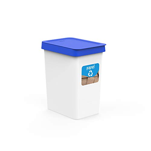 USE FAMILY Recycle. Papeleras Reciclaje Cartón 12L - - 27x20x33 cm + Pegatinas Reciclaje | Para Bolsas 10 L | Cubos de basura ecologico Plástico Reciclable (Papel )