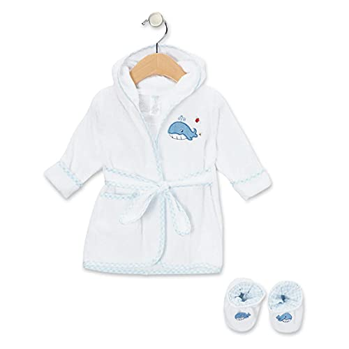 Spasilk Hooded Terry Bathrobe With Booties, Blue Whale (Smocked Whale)