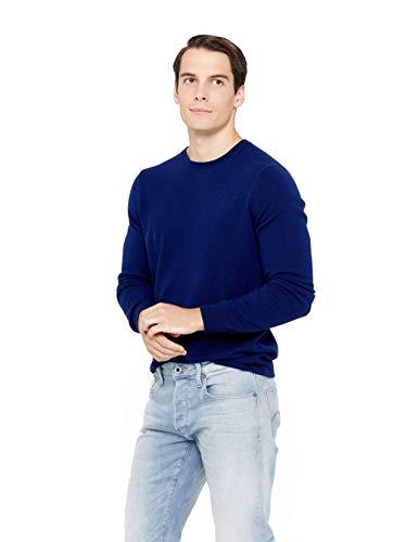 State Cashmere langärmliger Pullover aus 100% reinem Kaschmir für Herren mit Rundhalsausschnitt, Marine,  XL