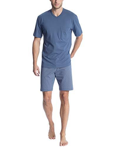 Calida Herren Relax Imprint 1 Zweiteiliger Schlafanzug, Blau (Mountain Blue 448), X-Large