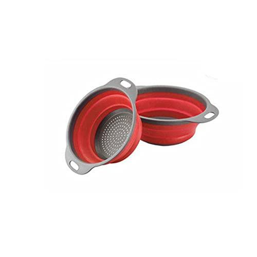 JSBAN Silicona Plegable sobre el Fregadero colador retráctil con Mango Cocina Plegable colador Cuencos Drenaje Agua Filtro de Agua (Color : 2combination Red)