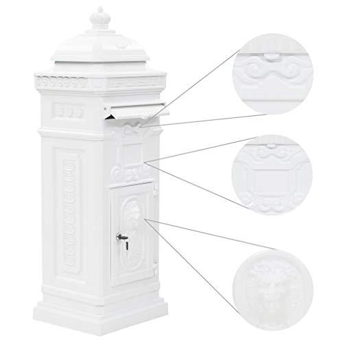 tidyard Säulenbriefkasten Aluminium Vintage-Stil Postkasten Rostfrei Weiß