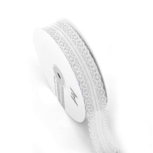 Heiqlay Puntillas de Encaje, Encajes y Puntillas Ribete de Encaje encaje elástico trenzado de flores para boda, cinta decorativa, manualidades, cinta de molienda (1 rollo, 3 cm, 45 m, blanco)