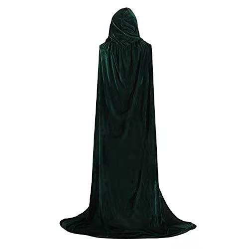 Ulyuan - Capa con capucha para Halloween, color verde, terciopelo largo, disfraz de Navidad para niños/adultos (70-170 cm)