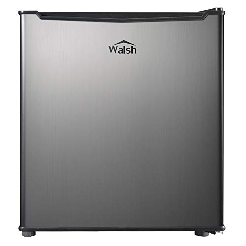 Walsh WSR17S5 Compact Refrigerator, 1.7 Cu.Ft Single Door Fridge, Adjustable Mechanical Thermostat with Chiller, Reversible Doors, Stainless Steel Look