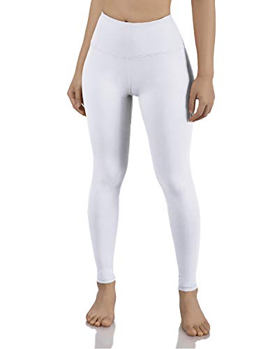 ODODOS Women's Mid Waisted Tummy Control Yoga Pants,Full-Length Leggings with Inner Pockets,White,Medium