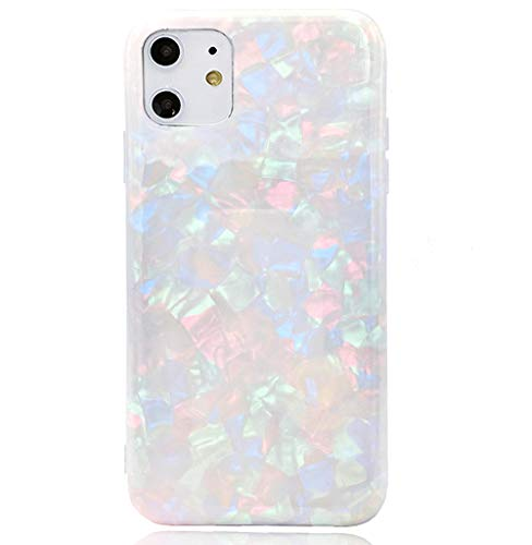 HUIYCUU Compatible with iPhone 11 Case 6.1', Soft Matte Cute Slim Girl Women Glitter Design Glossy Pearl Floral Pattern Shockproof Full Body Bumper Case for iPhone 11 XI, Colorful