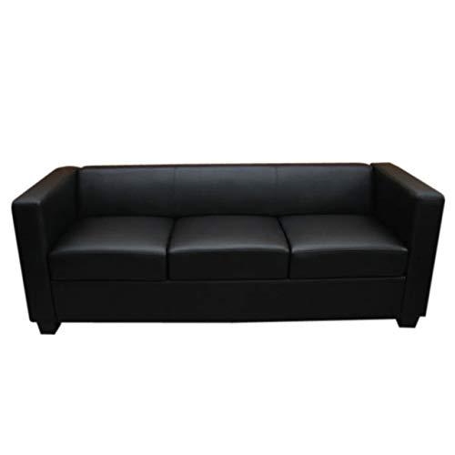 Mendler 3er Sofa Couch Loungesofa Lille - Leder, schwarz