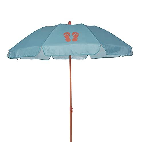 Ezpeleta Sombrilla de Playa|Sombrilla terraza|Parasol Plegable|Protección Solar UPF 50+|Diámetro 155cm|Incluye Funda|Base no incluida|Barra de Colores|Tejido Estampado (Chanclas Verde)