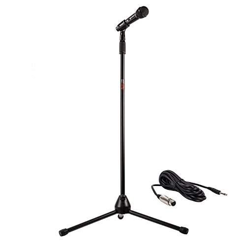 Nady MSC-3 Center Stage Microphone with sturdy metal adjustable tripod microphone stand with clip, and 20 ft. cable – Perfect for live performance, recording, karaoke, rehearsal spaces, public address - On/Off Switch - Frustration Free Packaging