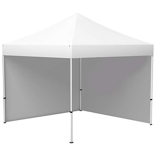 Vispronet® Faltpavillon Eco 3x3 m ✓ 2 Zeltwände, Vollwand ✓ Scherengittersystem ✓ inkl. Dach mit Volant (Weiß)