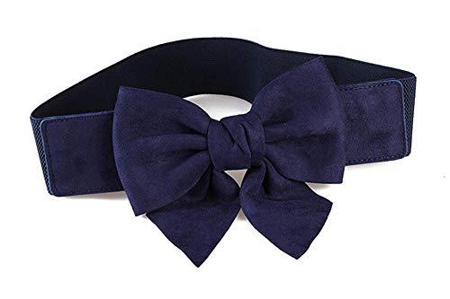 Unisex riemen suede boog gordel jurk jas jas trui accessoires elastische decoratieve riem grootte optioneel 68-80cm blauw