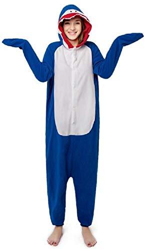 Anbelarui Tier Skelett Pinguin Dinosaurier Panda Einhorn Kostüm Damen Herren Pyjama Jumpsuit Nachtwäsche Halloween Karneval Fasching Cosplay Kleidung S/M/L/XL (M, Hai)
