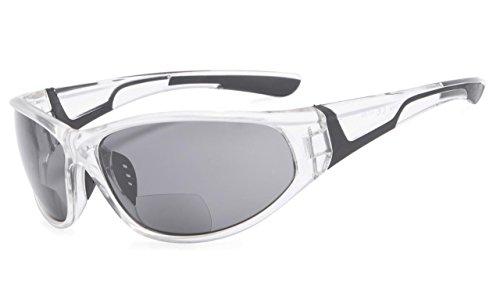 Eyekepper Bifokal Sonnenbrille mit TR90 und Gummirahmen - Sport Stil Sonnenscheinleser(Transparent, 2.50)