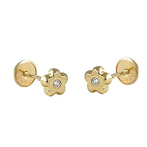 Pendientes oro 18k bebé 4mm. colección Baby margarita diamante brillante 0.02ct. cierre tuerca