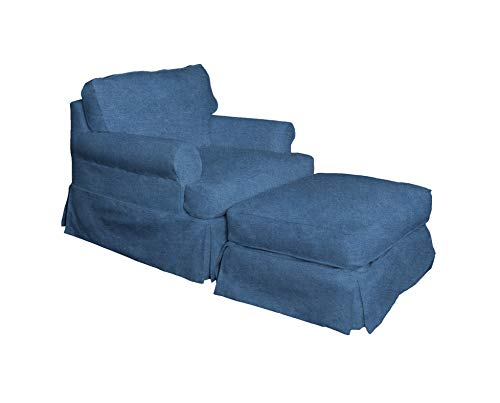 Sunset Trading Horizon Chair and Ottoman, Indigo Blue
