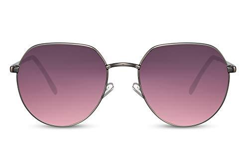 Cheapass Sonnenbrillen Klein Rund Gun Metall Stil mit flacher Oberseite und Lila/Pink Verlaufsgläsern UV400 geschützt Männer Frauen