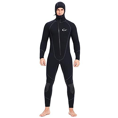 Trajes de neopreno para hombre, 5mm / 3mm / 7mm Traje de buceo de neopreno con cremallera frontal para pesca submarina, esnórquel, surf, piragüismo,5mm,S