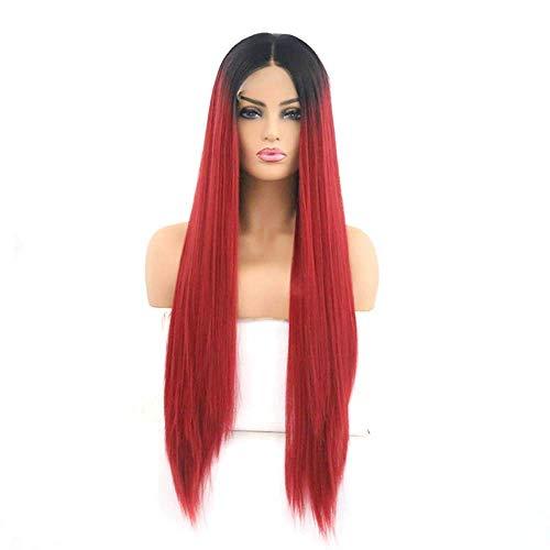 Peluca Femenina Peluca de Pelo Liso de Longitud Media roja Degradado Negro de Encaje Popular Europeo y Americano de 16 a 26 Pulgadas (Tama?o:24 Pulgadas) (Size : 20')