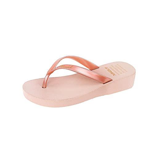 MLLM House Home Slipper Slipper,spessore fondo pendenza con il filo interdentale, 100 cm, sandali da spiaggia con fondo piatto, rosa 38, suola morbida in schiuma
