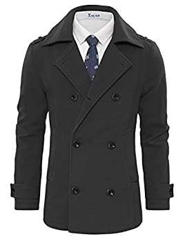 TAM WARE Men s Stylish Wool Blend Double Breasted Pea Coat TWCC10-CHARCOAL-US M