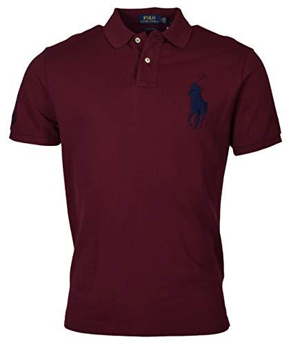 Polo Ralph Lauren Men's Custom Slim Fit Mesh Short Sleeve Big Pony Polo Shirt (M) Red/Navy